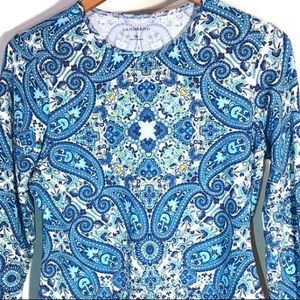 Land's End Paisley Long Sleeve Activewear Top